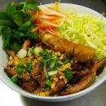 Vermicelli with Grilled Chicken and Vietnamese Eggroll